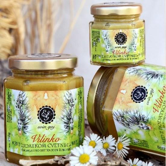 Vilinko - ekološki kremni med z dodatkom cvetnega prahu (55 g, 110 g ali 210 g)-Med